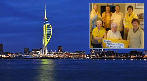 Portsmouth turning yellow for Cystic Fibrosis awareness